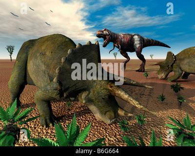 A T Rex Dinosaur Encountering Triceratops Dinosaurs - Stock Photo