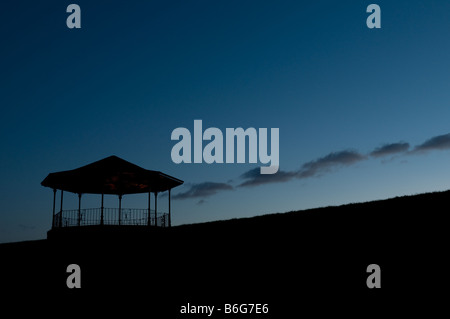 The silhouette of the empty victorian bandstand at night Llandeilo Carmarthenshire Wales UK - Stock Photo
