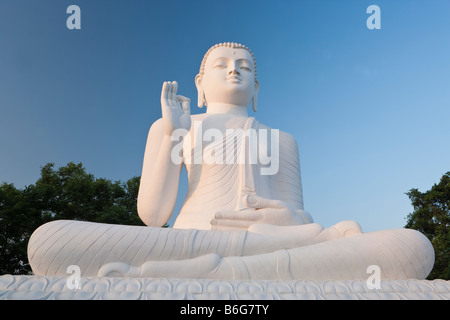 Great seated figure of the Buddha, Mihintale, Sri Lanka, Asia - Stock Photo