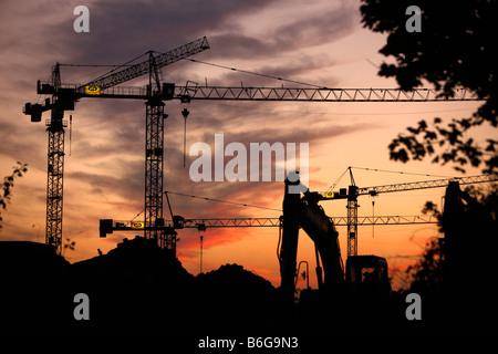 DEU Germany Essen construction cranes - Stock Photo