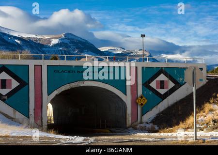 Gateway to Glacier National Park and Blackfeet Indian Country, East Glacier, Montana - Stock Photo