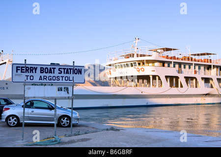 Evening Ferry from Lixouri to Argostoli, Kefalonia, Greece, Europe - Stock Photo