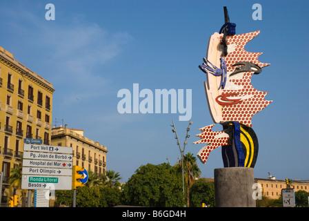 Cap de Barcelona by Lichtenstein and street signs in Barcelona Spain Europe - Stock Photo