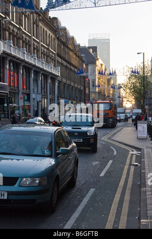 Traffic congestion on Deansgate Manchester - Stock Photo