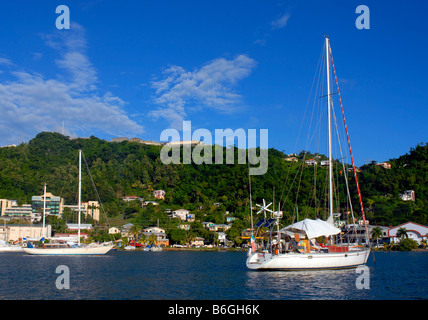 Yachts in the lagoon, St George's harbour, Grenada, 'West Indies' - Stock Photo