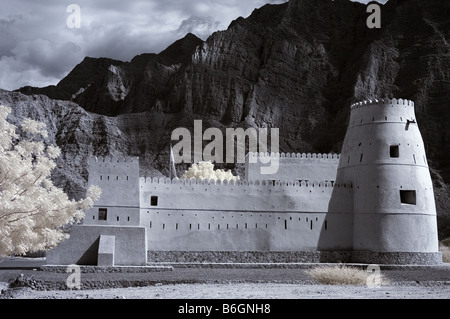 Infrared picture of Bukha Fort, Musandam, Oman using false colour and channel swapping - Stock Photo