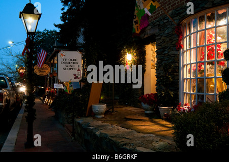 A street scene of historic Occoquan Virginia, a small town about thirty miles from Washington DC in Prince William - Stock Photo