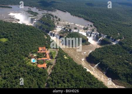 Aerial view of Iguacu Falls and Hotel Tropical das Cataratas, Parana, Brazil - Stock Photo