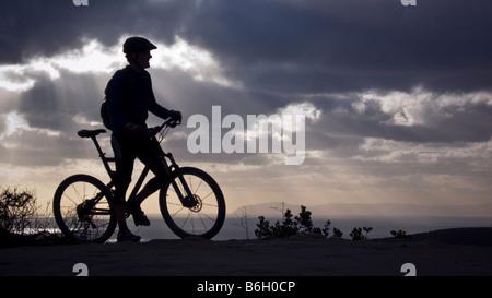 mountain bike sunset Laguna Beach California - Stock Photo