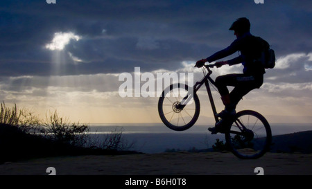 mountain bike sunset Laguna Beach California - Stock Photo
