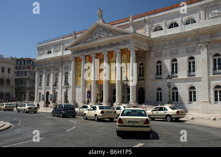 The Teatro Nacional de Dona Maria II stands at the northern end of the Rossio in Lisbon, Portugal. - Stock Photo