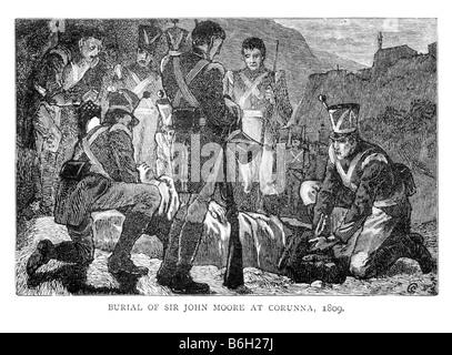 Burial of Sir John Moore at Corunna 1809 19th Centruy Illustration - Stock Photo