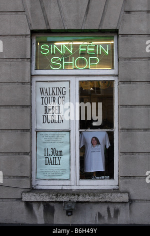 The shop of political party Sinn Fein in the city of Dublin in the Republic of Ireland - Stock Photo