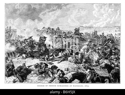 Charge of the French Cuirassiers at the Battle of Waterloo 1815 19th Century Illustration - Stock Photo