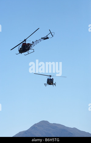 Vintage Bell 47 Helicopters Warbirds over Wanaka Airshow Wanaka South Island New Zealand - Stock Photo