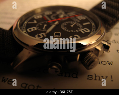 Close up of man's chronograph watch. - Stock Photo