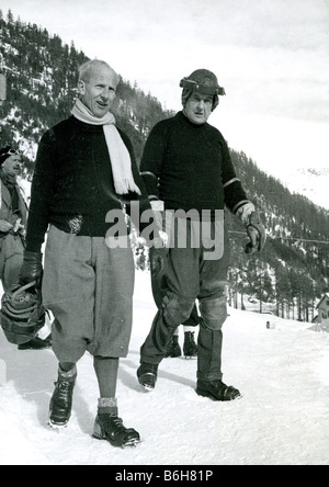 JOHN MOORE-BRABAZON at right and Jimmie Coats Captain of the British Olympic Team at the Cresta Run - Stock Photo