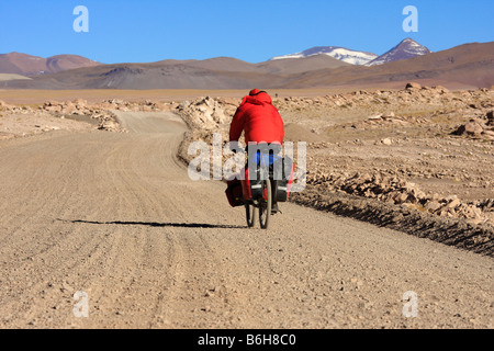 A biker in the Andes Salta district to the west of San Antonio de los Cobres Argentina on the way to the border - Stock Photo