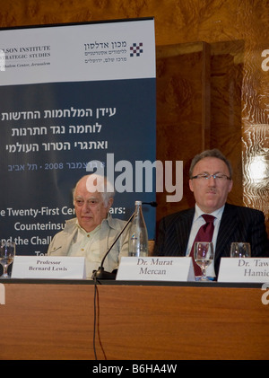Famous Middle East Scholar Prof. Bernard Lewis and Dr. Murat Mercan, Chairman of the Turkish Committee on Foreign - Stock Photo