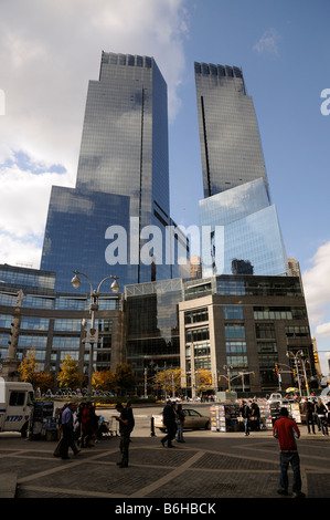 Columbus Circle Manhattan New York skyline of business buildings flats and apartments. American property The Time - Stock Photo