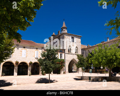 Place des Arcades town square in Monflanquin Lot et Garonne France Europe - Stock Photo