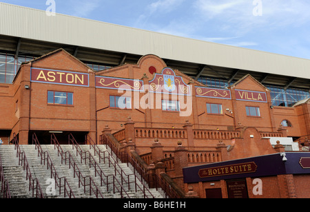 The Holte End stand of Villa Park in Birmingham the home of English premier league football club Aston Villa - Stock Photo