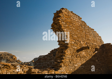 Rock dwellings at Chaco Culture National Historical Park New Mexico - Stock Photo