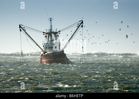 fishing ship in a storm ijmuiden the Netherlands - Stock Photo
