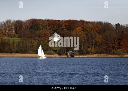 Sailboat Villa Autumn Landscape on the Chiemsee Chiemgau Bavaria Germany - Stock Photo