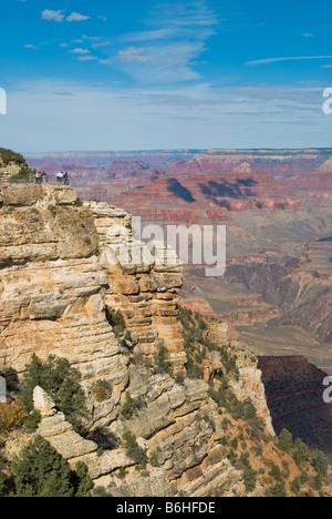 View of observation area and tourists from of the Grand Canyon south rim near Mather point Grand Canyon National - Stock Photo