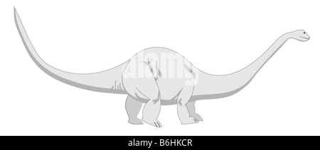 This is a vector illustration of a Brontosaurus also known as an  Apatosaurus. It is amongs the largest dinosaur. - Stock Photo