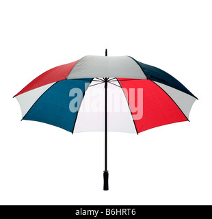 An open multicoloured golfing umbrella isolated on a white background with clipping path - Stock Photo