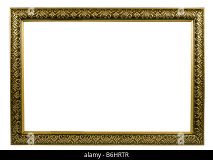 classic golden frame with decorative pattern - Stock Photo