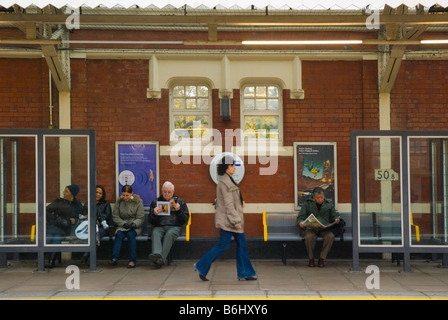People at Ladbroke Grove tube station in West London England UK - Stock Photo