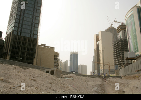 Construction project in downtown Doha, Qatar. - Stock Photo