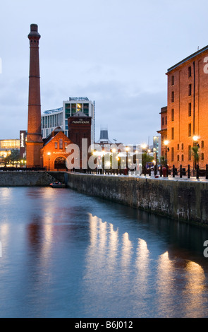 Albert Dock at night, Liverpool, Merseyside, UK - Stock Photo