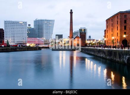 Albert Dock at night, Liverpool Merseyside, UK - Stock Photo