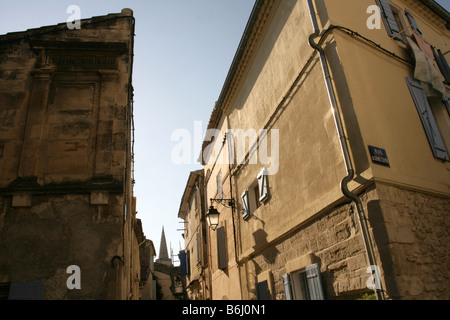 Detail of traditional apartment exteriors in old town, low angle view, Arles,  Bouches-du-Rhône, France - Stock Photo