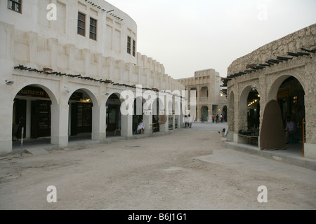 Traditional buildings at the Souq Waqif Market in Doha, Qatar. - Stock Photo
