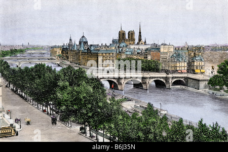 Pont Neuf bridging the Seine to the Ile de la Cite, viewed from near the Louvre, Paris, 1890s. Hand-colored halftone - Stock Photo