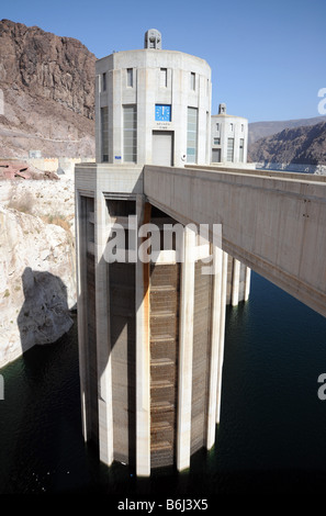 Hoover Dam intake towers on the Nevada side of Lake Mead, behind the dam - Stock Photo