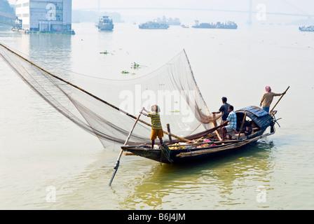 Fishing boat on the Hooghly River, Kolkata, India - Stock Photo