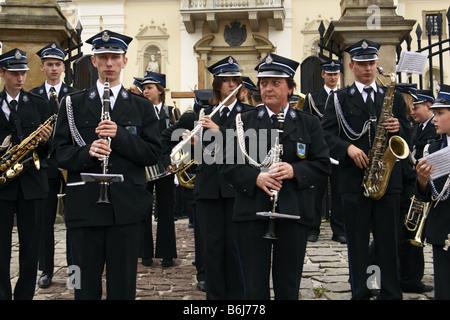 Brass orchestra during a religious ceremony in Kalwaria Zebrzydowska, Poland - Stock Photo
