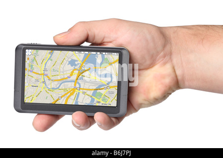 Portable GPS device in hand cutout on white background - Stock Photo