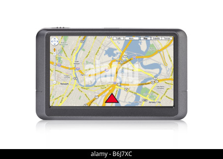 Portable GPS device with map on screen cutout on white background - Stock Photo