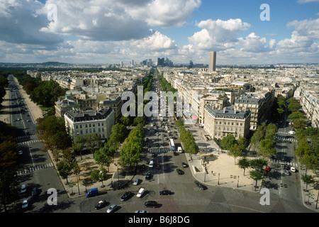 Paris France View from the Arc de Triomphe across Place Charles de Gaulle and the Avenue de la Grande Armée towards La Défence