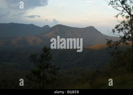 Main Range and Cunninghams Gap at dusk , Queensland, Australia - Stock Photo