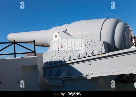 Gibraltar 100 ton gun dating from 1880 s at Napier of Magdala Battery Rosia Bay - Stock Photo
