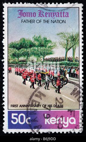 First anniversary of death of Jomo Kenyatta (1893-1978), Kenyan politician, postage stamp, Kenya, 1979 - Stock Photo