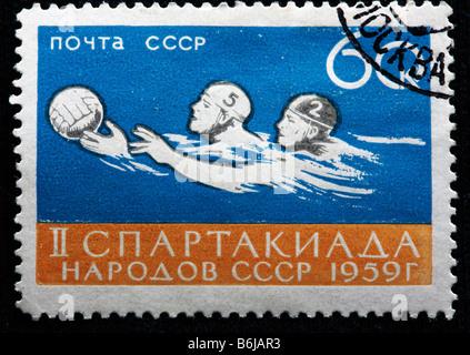 Swimming championship, postage stamp, USSR, 1959 - Stock Photo